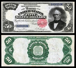 Everett depicted on the Series 1891 $50 silver certificate.