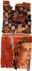 Lefthand image: The Sampul tapestry, a woolen wall hanging from Lop County, Hotan Prefecture, Xinjiang, China, showing a possibly Greek soldier from the Greco-Bactrian kingdom (250–125 BC), with blue eyes, wielding a spear, and wearing what appears to be a diadem headband; depicted above him is a centaur, from Greek mythology, a common motif in Hellenistic art Righthand image: Two Buddhist monks on a mural of the Bezeklik Thousand Buddha Caves near Turpan, Xinjiang, China, 9th century AD; although Albert von Le Coq (1913) assumed the blue-eyed, red-haired monk was a Tocharian,[10] modern scholarship has identified similar Caucasian figures of the same cave temple (No. 9) as ethnic Sogdians,[11] an Eastern Iranian people who inhabited Turfan as an ethnic minority community during the phases of Tang Chinese (7th-8th century) and Uyghur rule (9th-13th century).[12]