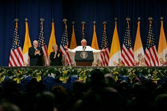 Pope Benedict XVI, Vice President Dick Cheney and Mrs. Lynne Cheney at a farewell ceremony for the Pope at John F. Kennedy International Airport in New York.