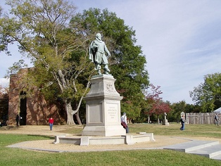 Statue of John Smith for the first English settlement in Historic Jamestowne, Virginia.