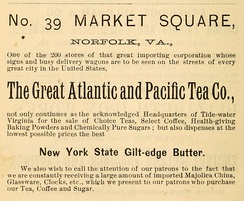 1888 advertisement for the Market Square A&P