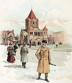 Idealized illustration of Copley Square from an 1890s clothing catalog, prominently featuring H. H. Richardson's Trinity Church