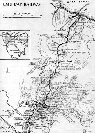 Emu Bay railway connected with most lines on the West Coast directly or indirectly