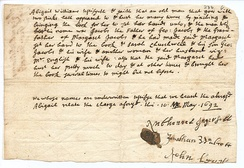The deposition of Abigail Williams v. George Jacobs, Sr.
