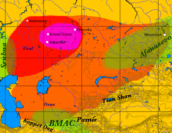 Map of the Sintashta-Petrovka culture (red), its expansion into the Andronovo culture (orange) during the 2nd millennium BC, showing the overlap with the Bactria–Margiana Archaeological Complex (chartreuse green) in the south. The location of the earliest chariots is shown in magenta.