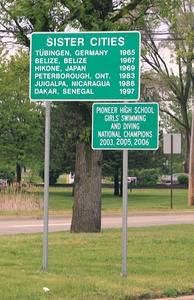 Sister cities sign (missing Remedios, Cuba), S. State St.