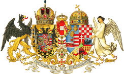 Middle Common Coat of Arms of the Austro-Hungarian Empire in 1915 showing most of the larger possessions of the Austrian Empire (left shield) and the Kingdom of Hungary (right shield). The personal arms of the Habsburg-Lorraine are in the center. The collection of territories that acknowledged the head of the Habsburgs as personal ruler shown by this representation put the Empire at a distinct disadvantage in comparison with the unified nation-states that it shared the continent of Europe with.