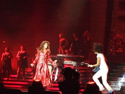 "Knowles performing ""Ring the Alarm"" in May 2007. During a performance of the song in Orlando, Florida on July 24, she fell down a flight of stairs as her long red coat got caught under her heel."