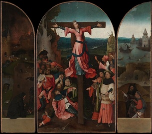 The Crucified Martyr (Saint Julia) by the Dutch artist Hieronymus Bosch. Saint Julia wears red, the traditional color of Christian martyrs.