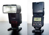 A Speedlite 550EX, an early E-TTL flash from 1998