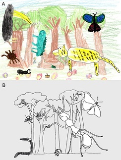 An art scape image showing the relative importance of animals in a rain forest through a summary of (a) child's perception compared with (b) a scientific estimate of the importance. The size of the animal represents its importance. The child's mental image places importance on big cats, birds, butterflies, and then reptiles versus the actual dominance of social insects (such as ants).