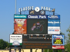 Scoreboard prior to a Captains game at Classic Park