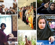 A collage of Muslim women voters in the 2010s from different countries