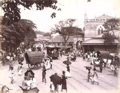 Colombo street scene in the early 20th century with a tramcar and the old Town Hall in the background
