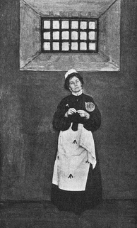 "Pankhurst (wearing prison clothes) described her first incarceration as ""like a human being in the process of being turned into a wild beast.""[62]"