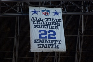 Fan banner honoring the NFL's all-time leading rusher banner at Texas Stadium.