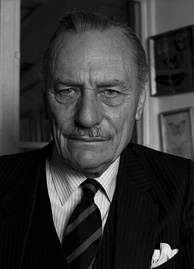 An elderly man with full head of hair and small moustache, staring into the camera