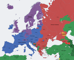 Map of religions in Europe, Western Christianity is defined by blue and purple