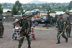 Government troops near Goma during the M23 rebellion in May 2013