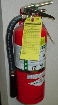 Fire extinguisher with permanent and temporary labels