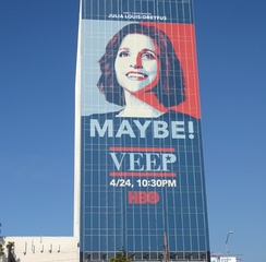 Veep promotional poster on the side of a building