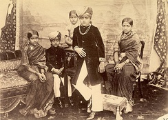 An 1895 group photograph of the eleven-year-old Krishnaraja Wadiyar IV, ruler of the princely state of Mysore in South India, with his brothers and sisters.  In 1799, his grandfather, then aged five, had been granted dominion of Mysore by the British and forced into a subsidiary alliance.  The British later directly governed the state between 1831 and 1881.