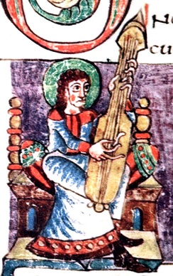"Illustration labeled ""cythara"" in the Stuttgart Psalter, a Carolingian psalter from the 9th century. The instrument shown is of the chordophone family, possibly an early citole or lute"