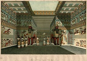 Illustration of a hall in the Assyrian Palace of Ashurnasrirpal II; by Austen Henry Layard (1817-1894); 1854