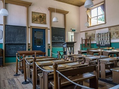 Classroom from 1910 in a late 19 century elementary school, Het Hoogeland Openluchtmuseum.
