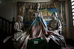 Marcela Agoncillo (center), principal seamstress of the first official flag of the Philippines