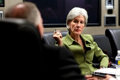 Sebelius at an HHS meeting in April 2009