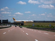 A taxiway crossing the Autobahn, near Leipzig
