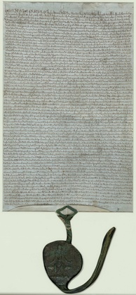 1225 charter, held in the British Library, with the royal great seal attached