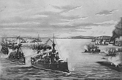 The Battle of Manila Bay, depicted in a lithograph by Butler, Thomas & Company, 1899