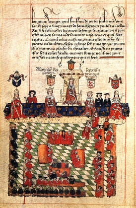 A 16th-century depiction of Edward's parliament. Parliament passed the Statute Quia Emptores in 1290.