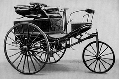 The Benz Patent-Motorwagen Number 3 of 1888, used by Bertha Benz for the first long distance journey by automobile (more than 106 km or sixty miles)