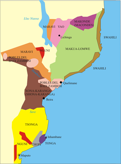 Ethnic map of Mozambique.