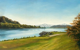 A painting of the confluence of the Ohio and Scioto Rivers, showing the Carl Perkins Bridge. Artist Herb Roe
