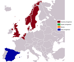 European monarchies by succession:   Absolute primogeniture   Agnatic primogeniture   Elective   Male-preference primogeniture