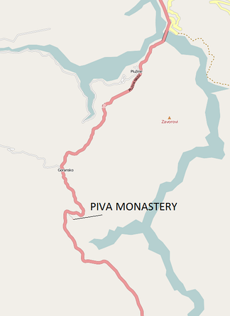 Location in relation to the Piva River, E-762 road, and villages of Goransko and Plužine
