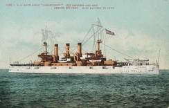 Flagship Connecticut: one of a set of commemorative postcards of the ships of the Great White Fleet