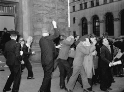 Plainclothes RCMP officers attack Relief Camp Workers' Union protesters in 1938. Several protests over unemployment occurred in the city during the Great Depression.