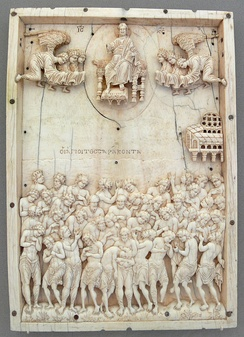 Ivory relief icon from Constantinople, 10th century (Bode Museum, Berlin).