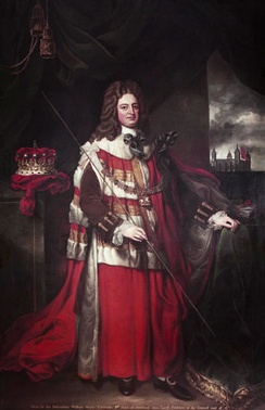 Robert Harley pictured carrying the white staff of the Lord High Treasurer.  Portrait by Jonathan Richardson.