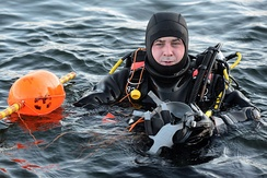 A member of the RNR Diving Branch from HMS Dalriada conducting continuation training at the Defence Diving School, Horsea Island, Portsmouth