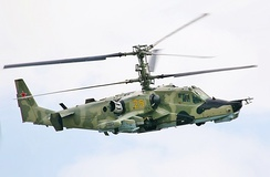 A Russian Air Force Kamov Ka-50 uses a coaxial rotor system