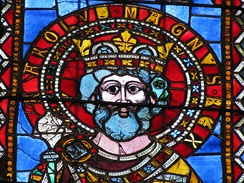 13th-century stained glass depiction of Charlemagne, Strasbourg Cathedral