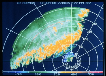 Band of thunderstorms seen on a weather radar display