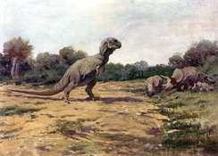 Charles R. Knight's Tyrannosaurus in the American Museum of Natural History, on which the large theropod of the film was based[39]