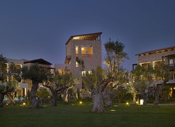 An exterior view of The Westin Resort, Costa Navarino inspired by traditional mansions of Messinia in Greece